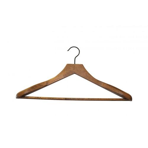 Dark Wooden Sustainable Jacket Hanger with Trouser Bar
