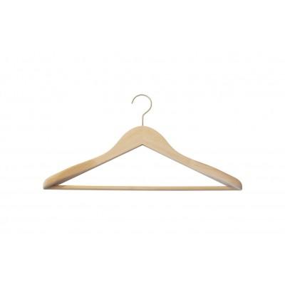 Natural Wooden Jacket Hanger with Trouser Bar