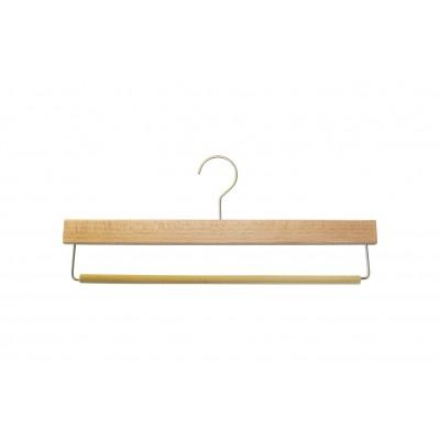 Natural Wooden Trouser Hanger with Non Slip Flocked Bar