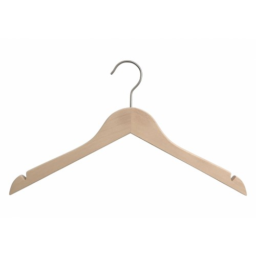 Natural Wood Top Clothes Hanger with Notch