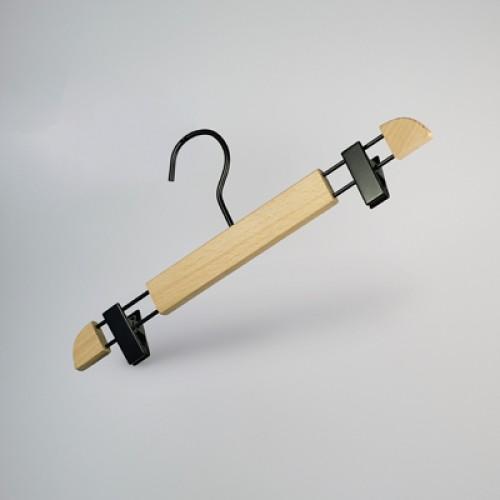 Premium Natural Wooden Clip Bottom Hanger